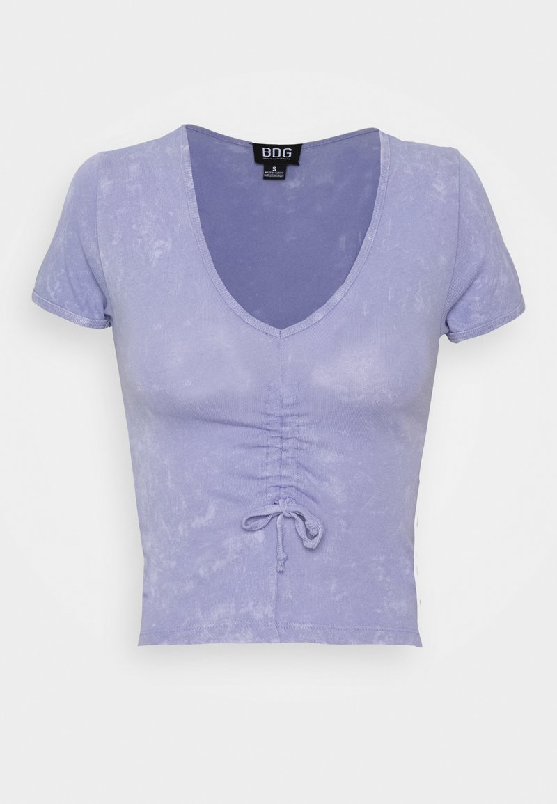BDG Urban Outfitters - DRAWSTRING VNECK TEE - T-shirts med print - lilac