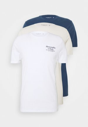 GRAPHIC CREW 3 PACK - Print T-shirt - white/tan/blue