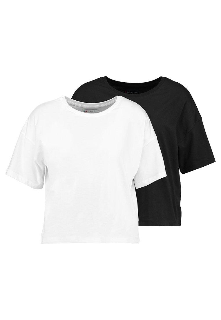 Even&Odd - 2 PACK - Basic T-shirt - white/black