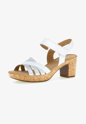 Platform sandals - weiss/silber