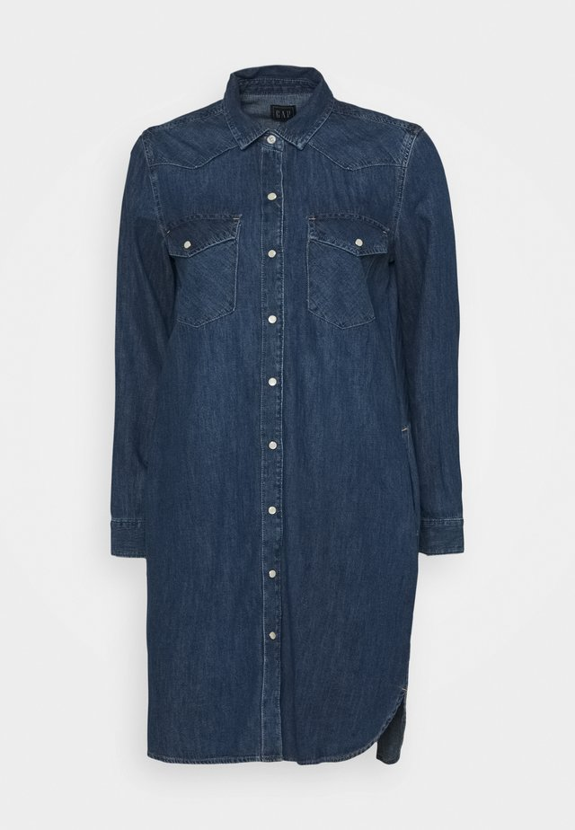 WESTERN SHIRTDRESS MED OGDEN - Denim dress - medium indigo