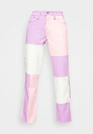 PATCHWORK BOYFRIEND FIT WITH FRAYED SEAMS - Slim fit jeans - multi