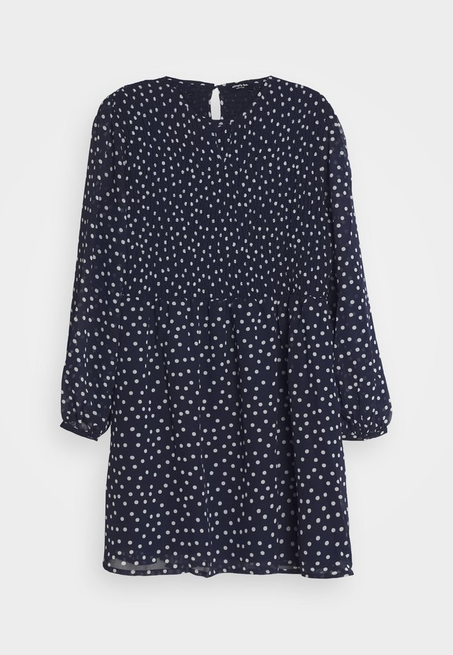SHIRRED SPOT SKATER DRESS - Kjole - navy