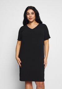 ONLY Carmakoma - CARMANILO V-NECK  - Jersey dress - black - 0