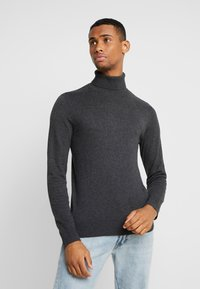 Jack & Jones - JJEEMIL ROLL NECK - Stickad tröja - dark grey melange - 0