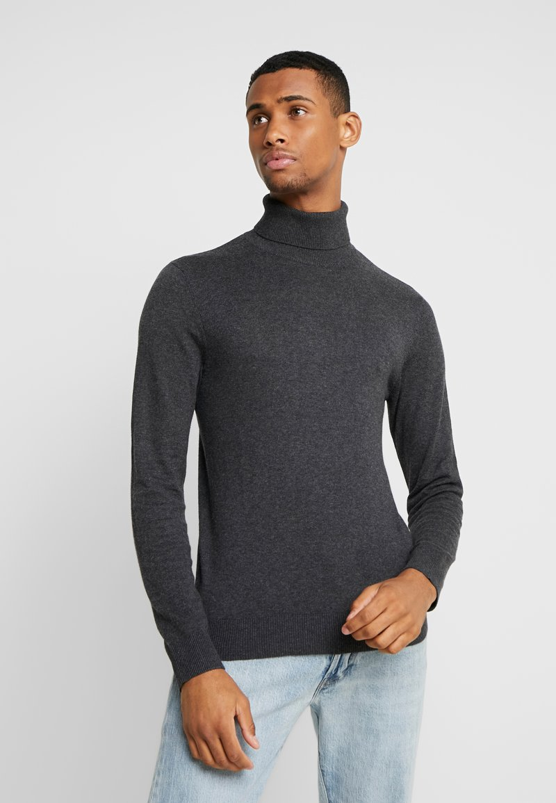 Jack & Jones - JJEEMIL ROLL NECK - Stickad tröja - dark grey melange