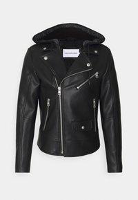 Calvin Klein Jeans - JACKET - Faux leather jacket - black - 0