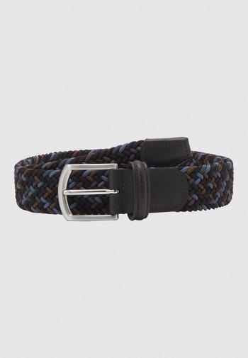 STRECH BELT UNISEX - Palmikkovyö - blue/brown