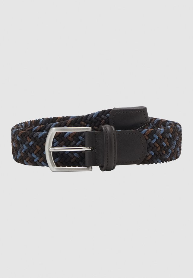 STRECH BELT UNISEX - Palmikkovyö - blue/brown