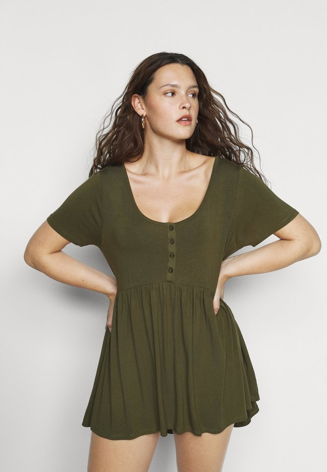 SHORT SLEEVE TUNIC - Jersey dress - olive