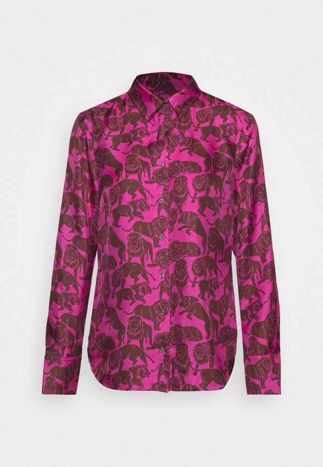 MAD TWILL LIONS - Button-down blouse - fuchsia brown