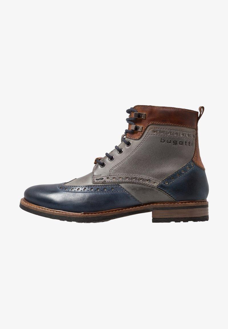 Bugatti - MARCELLO - Lace-up ankle boots - dark blue/grey