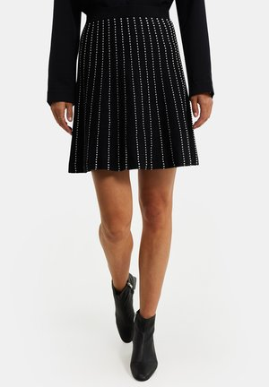 DAMES FIJNGEBREIDE MET STRUCTUUR - Pleated skirt - black