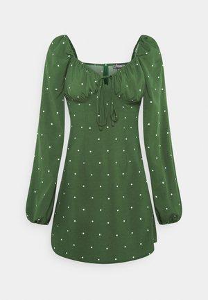 TIE BUST MILKMAID SKATER DRESS POLKA - Kjole - dark green