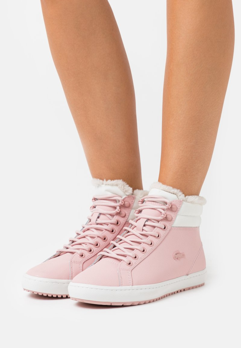 Lacoste - STRAIGHTSET - Baskets montantes - pink/offwhite