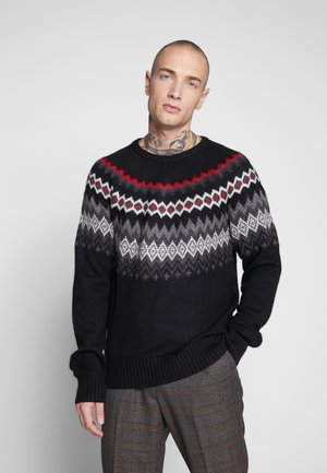 NORDIC PATTERN CREW - Jumper - black