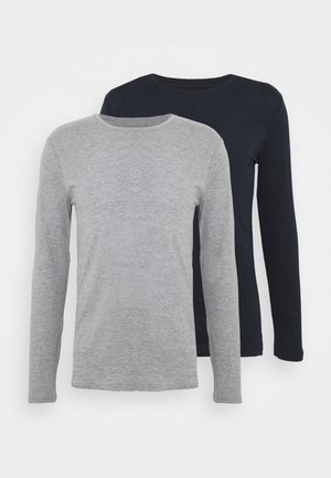 2 PACK - Long sleeved top - dark blue/mottled grey
