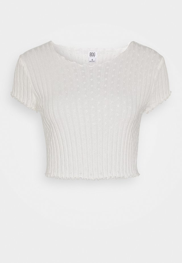POINTELLE TEE - T-shirt imprimé - ivory