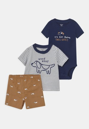 STRIPE DOG SET - Print T-shirt - blue/beige