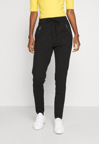 Vero Moda Tall - VMEVA LOOSE STRING ZIPPER PANT - Verryttelyhousut - black - 0