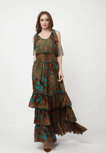 Maxi dress - aqua/braun