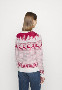 Vila - VICOMET CHRISTMAS - Jumper - snow white/red - 2