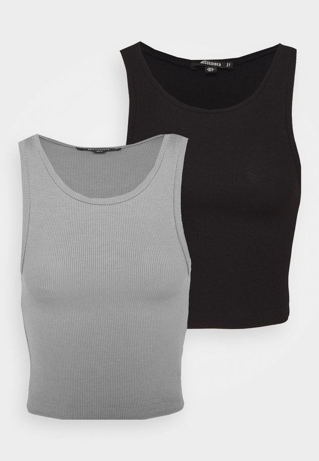 SLEEVELESS CROP 2 PACK - Débardeur - grey/black