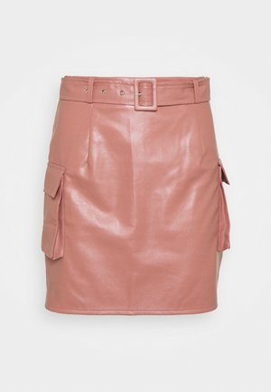 BELTED POCKET DETAIL MINI SKIRT - Minikjol - pink