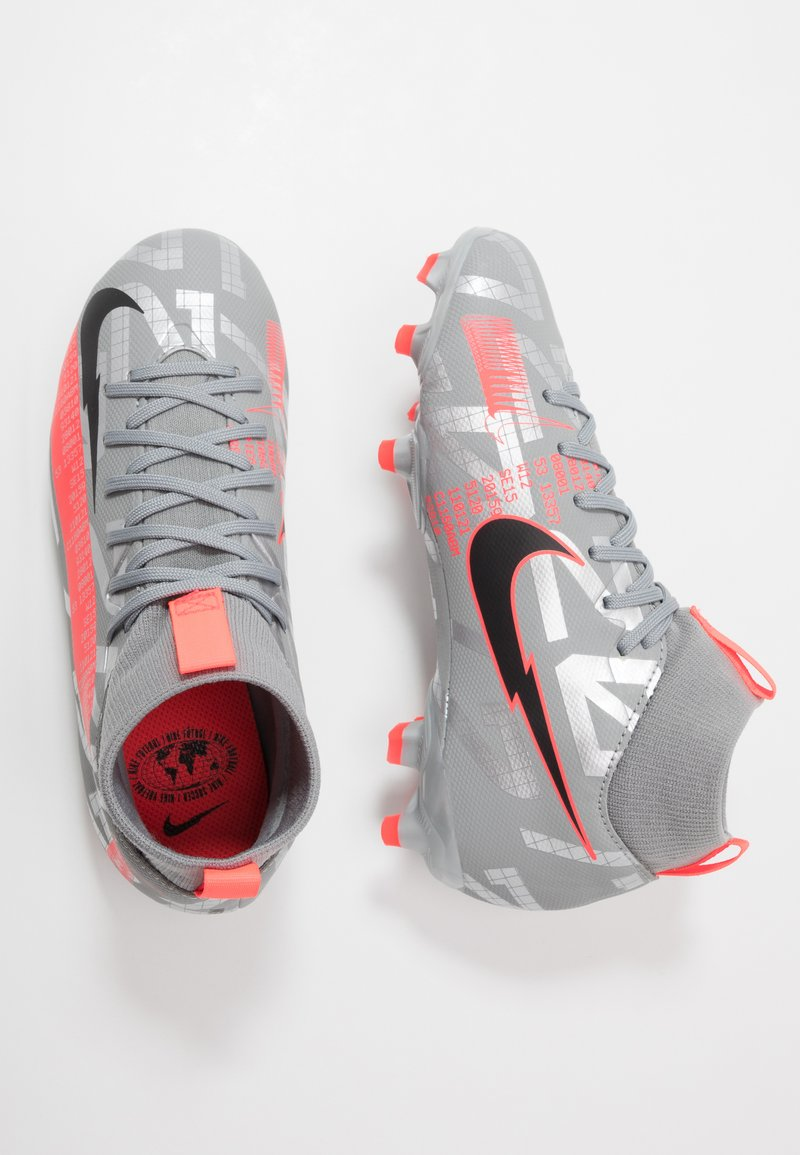 Nike Performance - MERCURIAL JR 7 ACADEMY FG/MG UNISEX - Moulded stud football boots - metallic bomber grey/black/particle grey