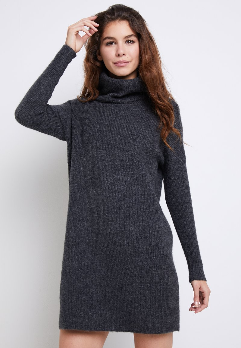 ONLY - ONLJANA COWLNECK DRESS  - Strikkjoler -  grey