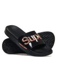 Superdry - Pool slides - black/metallic gold - 2