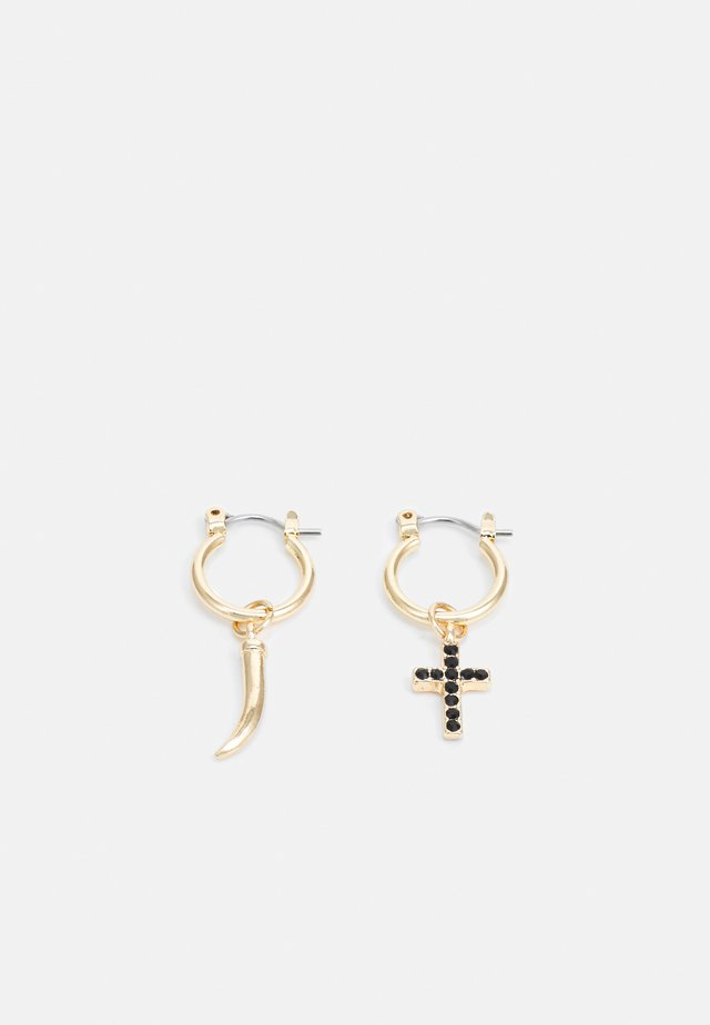 CROSS AND TUSK ASYM HOOPS - Earrings - gold-coloured/black