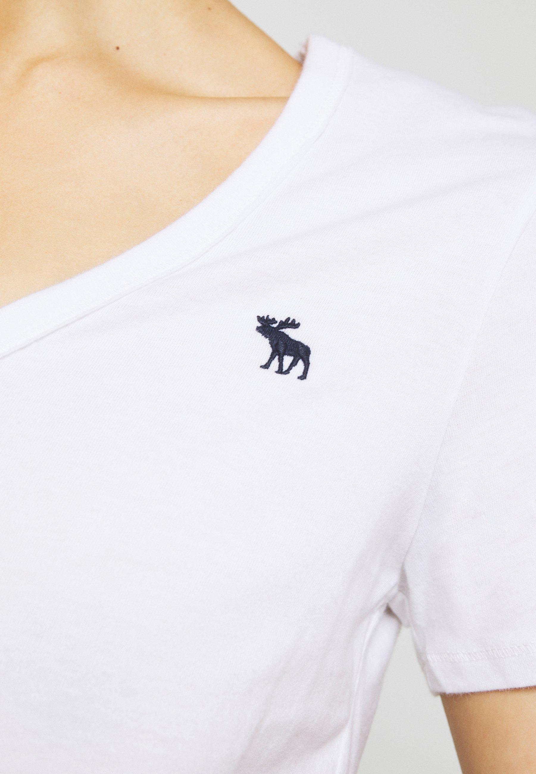 Abercrombie & Fitch VNECK 3 PACK - T-shirt basic - black/white/navy - Abbigliamento da donna Perfetto