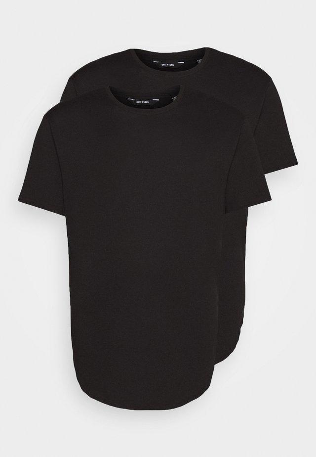 ONSMATT LONGY TEE 2 PACK  - T-paita - black