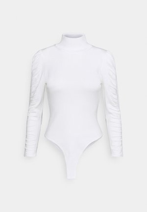 ROUCHED SLEEVE BODYSUIT - Long sleeved top - white