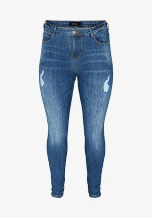 MIT SCHLITZDETAILS - Slim fit jeans - blue