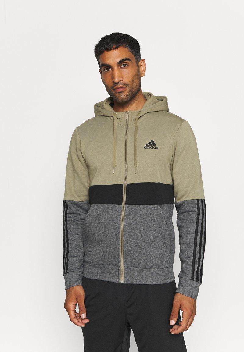 adidas Performance - COLORBLOCK FULL ZIP ESSENTIALS - Zip-up sweatshirt - orbit green/black