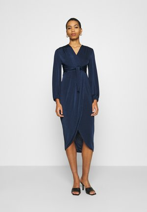 TWIST FRONT LONG SLEEVE DRESS - Denní šaty - navy