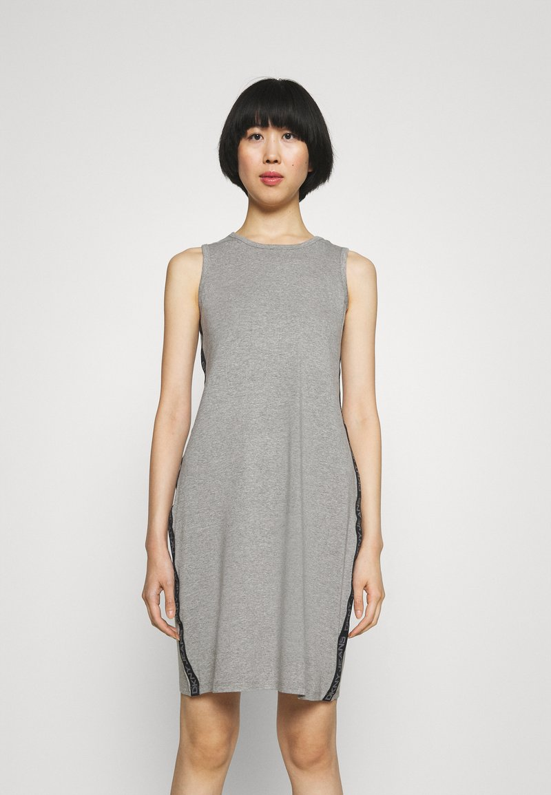 DKNY - SIDE TAPED FORM FITTED SHEATH - Jersey dress - heather grey