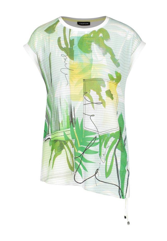 SEITLICHER RAFFUNG - Print T-shirt - offwhite gemustert