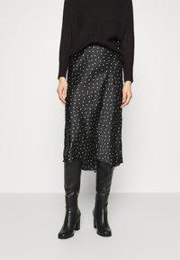 Abercrombie & Fitch - MIDI SKIRT - A-line skirt - black - 0