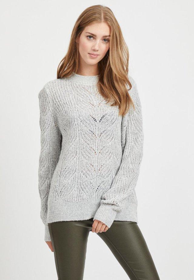 OBJNOVA STELLA - Stickad tröja - light grey melange