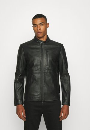 SLIM FIT - Leather jacket - black