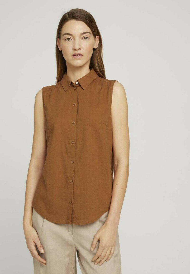 TOM TAILOR - Button-down blouse - caramel brown
