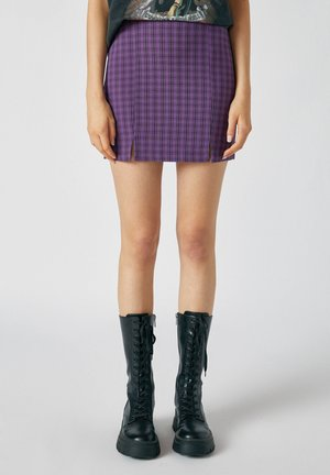 MIT SCHLITZEN - Mini skirt - dark purple