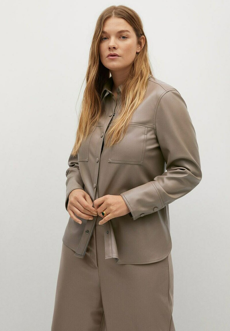 Violeta by Mango - CLIP - Faux leather jacket - middenbruin