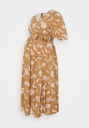 MIDI DRESSES WITH PUFF SLEEVES - Korte jurk - brown