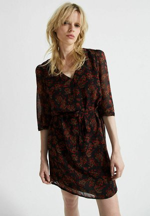 FLORAL OUTLINE PRINT VOILE WITH V-NECK AND ELBOW-LEN - Day dress - noir