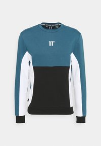11 DEGREES - CUT AND SEW - Mikina - black /indian teal/white - 5