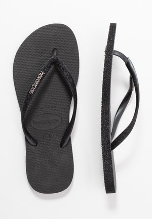 SLIM FIT SPARKLE - Flip Flops - black